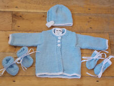 Hand Knitted Blue Baby Cardigan,Hat, Booties Mitten Set  0-3 / 3-6 / 6-9 Months