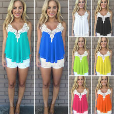 Sexy  Womens Summer Vest Lace Chiffon Sleeveless Blouse Casual Tank Tops T-Shirt