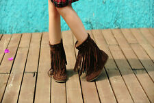 Womens Rivets Tassel Fringe Slouchy Hidden Wedge Moccasin Ankle Boots Plus Size