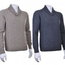 New Zealand Possum Merino Wool Cable Shawl Neck Collar Sweater Jumper