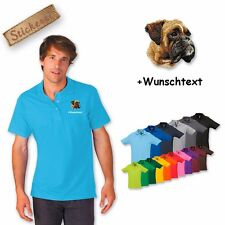 Polo Shirt Cotton embroidered Dog Boxer + Text of your choice