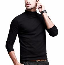 Mens Long Sleeve Casual T-Shirt High Elasticity Turtleneck Basic Tee M L XL 2XL