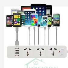 US/EU/UK 6FT 4 USB 3-Outlet Power Strip Extension Cord w/ Surge Protector, White