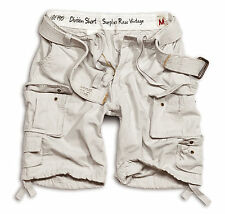 SURPLUS DIVISION SHORTS MILITARY ARMY VINTAGE CARGO COMBAT + BELT OFF WHITE