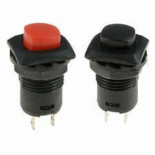 Square Base Latching On/Off Push Button Switch Red or Black SPST Car Dash 12V