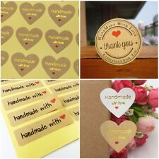 Handmade Love Stickers - Choice of Labels/Sizes - Handmade With Love Kraft