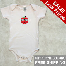 Infant Organic One Piece Shirt Short Sleeve Apple Size 3-6 6-12 18-24 Baby Cloth