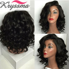 Best Curly Human Hair Lace Front Wigs Glueless 6A Brazilian Remy Hair Black Wig