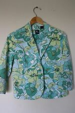 French Cuff blazer jacket size medium green blue floral 3/4 sleeve (B37)
