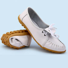 Women Casual Genuine Leather Flats Loafers Moccasin Slip on Boat Oxfords Shoes