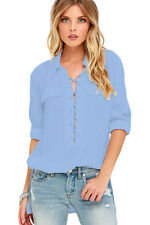 Long Sleeve Button Lace-up Bodice Tops Casual Women Summer Sexy Loose Blouses