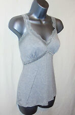 Beautiful Grey Marl Lace Trimmed Jersey Camisole Vest Sleep Top