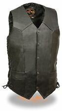 MEN'S MOTORCYCLE TALL LENGTH BIKERS LEATHER VEST SOFT LEATHER SIDE LACES BLACK