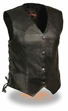 WOMEN'S MOTORCYCLE RIDER LONG LEATHER 4 SNAPS SIDE LACES VEST BLACK NEW