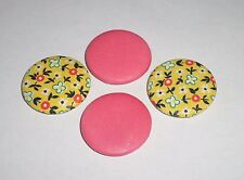 """Handmade Fabric Covered Buttons set of 4-1.5"""" /1"""" Combination Floral Metal Shank"""