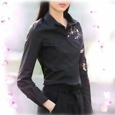 New Womens Ladies Floral Embroidered Long Sleeve Cotton Blouse Tops Shirt SML