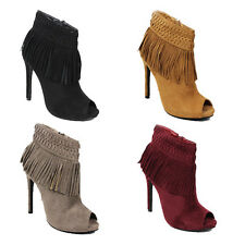 WOMENS LADIES HIGH HEEL PEEP TOE TASSLE FRINGE ANKLE BOOTS SHOES SIZE 3-7