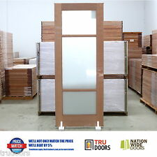3 Lite TRANSLUCENT Glass French Solid Timber Doors Pantry Sliding Doors 920x2340