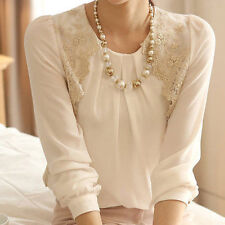 Stylish Women Ladies Loose Lace Chiffon Long-sleeved Shirt Sheer Tops Blouse New