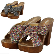 NEW WOMENS LADIES MID HI WEDGE HEEL SANDALS OPEN PEEP TOE PLATFORM SHOES SIZE