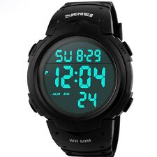 Mens Sports Watches Dive 50m Digital LED Watch Casual Electronics Wristwatches