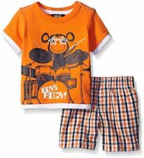 Toddler Boys Monkey with Drums 2 Piece Shirt & Short Set
