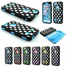 Heavy Duty Polka Dots Hybrid Rubber Hard Case Cover for Apple iPhone 6 / 6 Plus