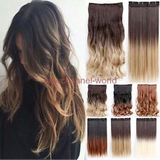 Clip In on 3/4 Full Head One Piece Wavy Hair Extensions Curly Straight Hair Real