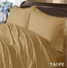 TAUPE STRIPED 1000TC 100% COTTON FITTED/SHEET SETS SCALA ALL SIZE & DEEP POCKET