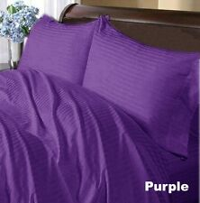 PURPLE STRIPED 1000TC 100% COTTON FITTED/SHEET SETS SCALA ALL SIZE & DEEP POCKET