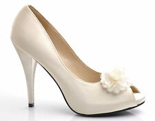Champagne Satin Flower Details Peep-Toes Wedding Bridal Heels Prom Shoes