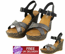 NEW WOMENS PLATFORMS LADIES WEDGES SNAKE PRINT SUMMER SANDAL SHOES SIZE UK 3-8