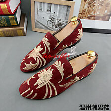 MEns Faux Suede Pull On Loafer Stripe Embroider Moccasin Driving shoes Casual SZ