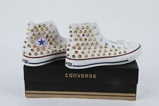 Converse all star chucktaylor high top studded spikes white sneakers gold studs