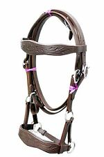 BROWN leather sidepull bitless bridle hand carving on brow & noseband IN 3 sizes