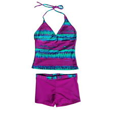 2PCS Girl Swimsuit Floral Printed Tankini Sets Swimwear Beach Bather Suit 8-16Y