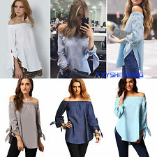 Size 6-14 Sexy Womens Off Shoulder Long Sleeve T Shirt Ladies Casual Tops Blouse