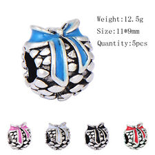 5PCS silver plated beads Rainbow Enamel cute bow fit bracelet free shipping