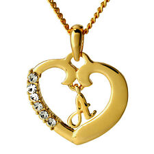 18k Gold Plated Heart Pendant With Initial - Name Necklace - Gifts for her