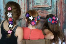Girls Layered ribbon Flower Hair Clips alligator bling fashion  boutique NWT