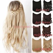 Long Real Thick Headband Wavy Curl Hair Extension Wire Piece Natural No Clip in