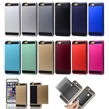 Hybrid Hard Back Card Storage Slide Cases Cover For Apple iPhone 5S 6 6S