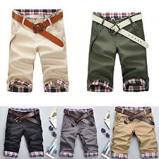 New Mens Casual Short Solid Pants Lattice Flanging Cropped Trousers Slim Shorts