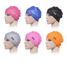 NEW YUKE Women Men Adult Silicone Swimming Long Hair Cap Ear Wrap Waterproof Hat