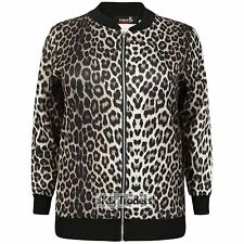 LADIES WOMENS NEW LEOPARD PRINT BOMBER JACKET PLUS SIZE 14 16 18 20 22 24 26 28
