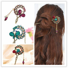 Women Lady Retro Crystal Butterfly Flower Chinese Hairpins Hair Stick Hair Clip