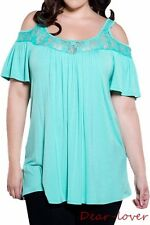 New Lace Cold Shoulder Women Plus Size Peasant Tops Pleated Casual Tunic Blouses