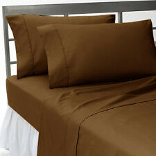1000 TC BROWN SOLID 100% COTTON 1000TC ALL UK SIZE FITTED/SHEET/DUVET SET/SKIRT