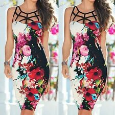 Women's Elegant Vintage Bandage Floral Print Frill Party Cocktail Bodycon Dress