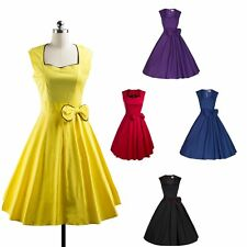 Women 50s 60s Bowknot Rockabilly Retro Pinup Swing Prom Party Evening Dress